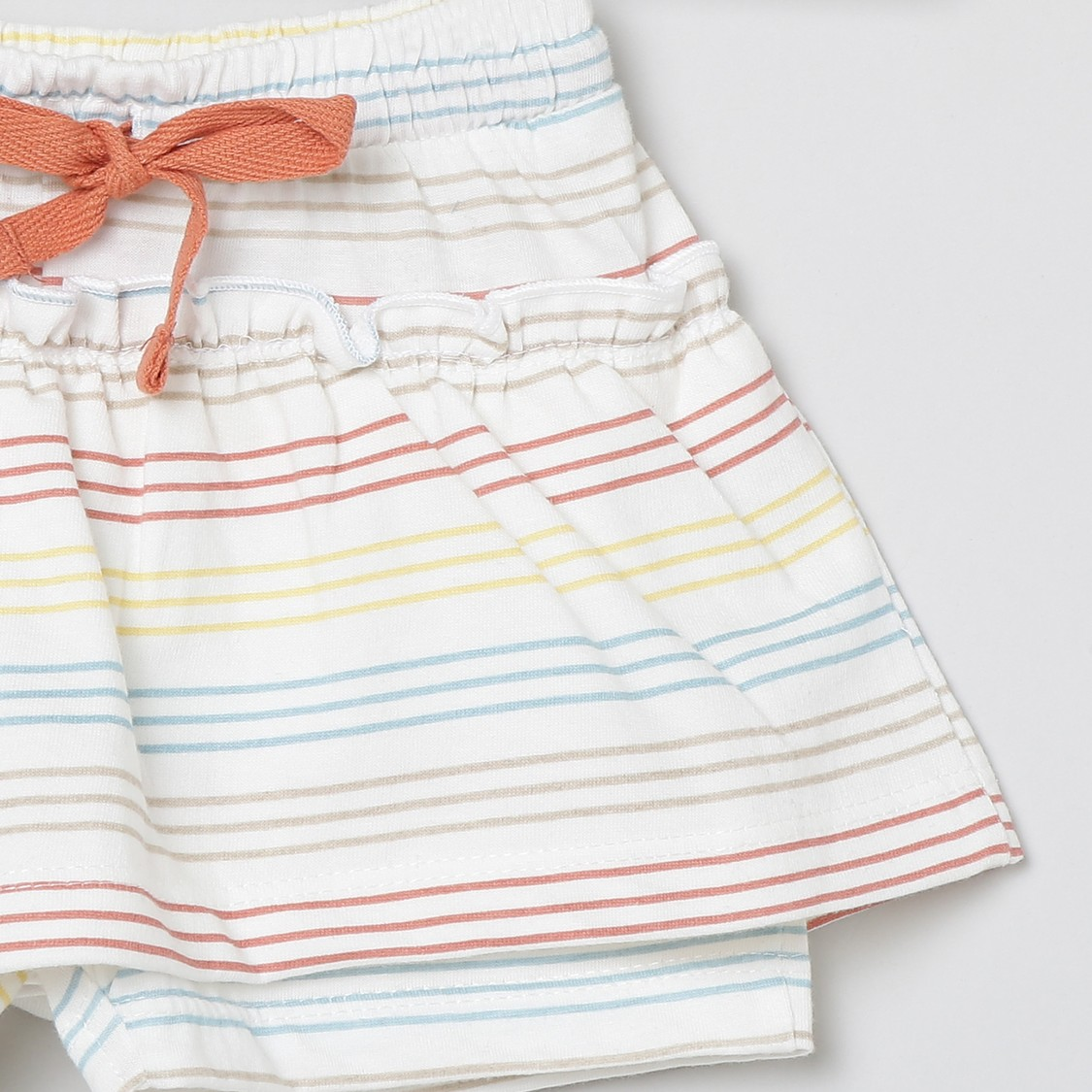 MAX Striped Drawstring Waist Skirt