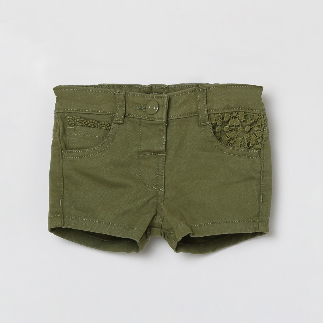 MAX Solid Woven Shorts with Crochet Detail