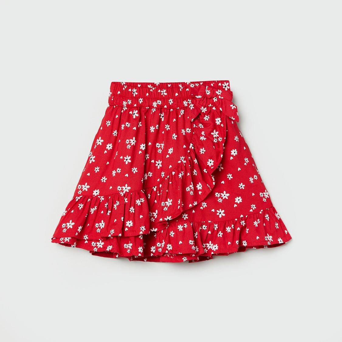 MAX Floral Print Ruffled A-Line Skirt