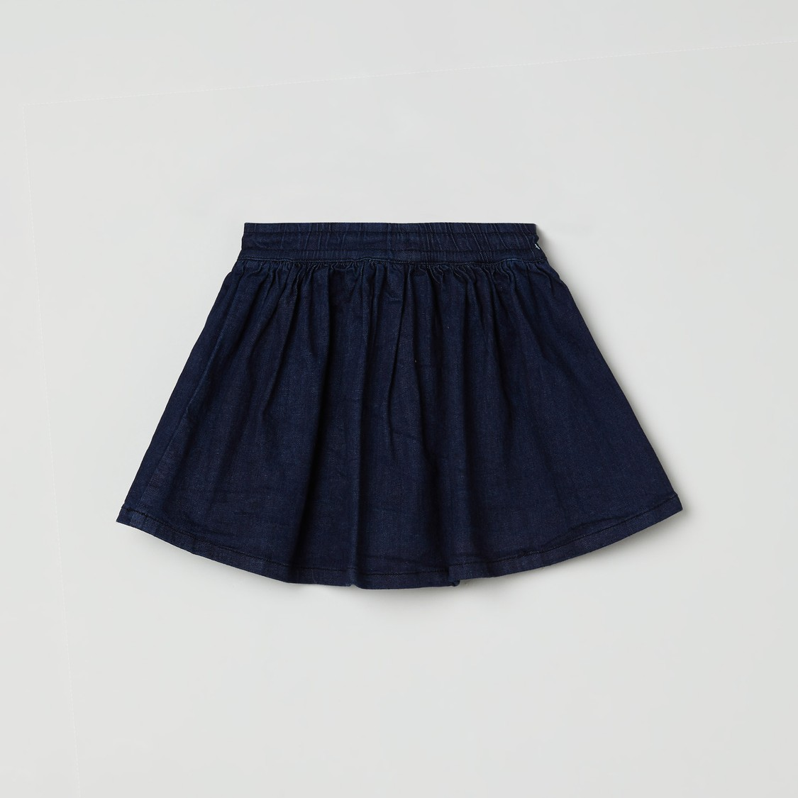 MAX Embroidered Denim A-Line Skirt
