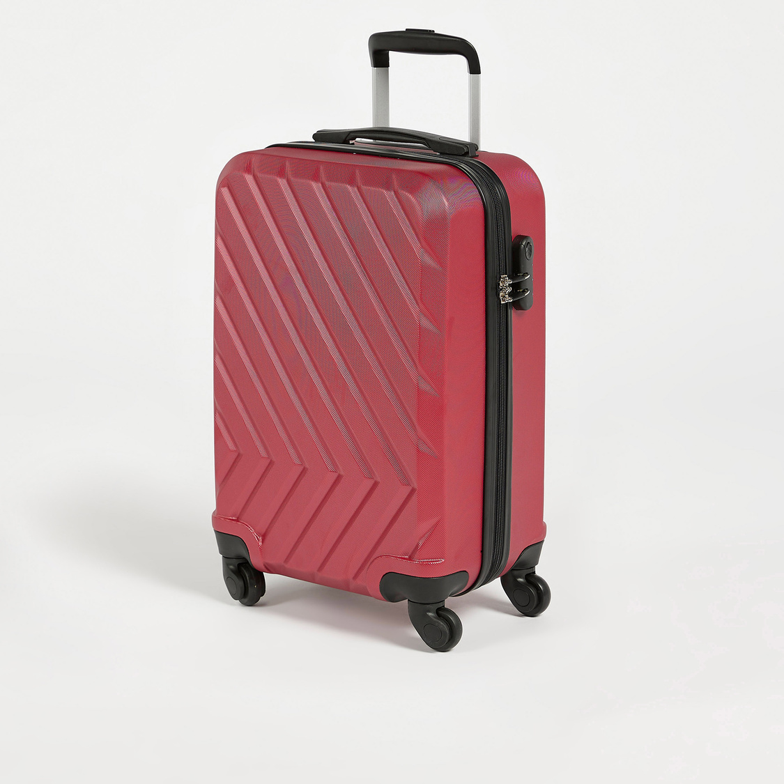 Textured Suitcase with Retractable Handle and Wheels - 38x23x55 cms