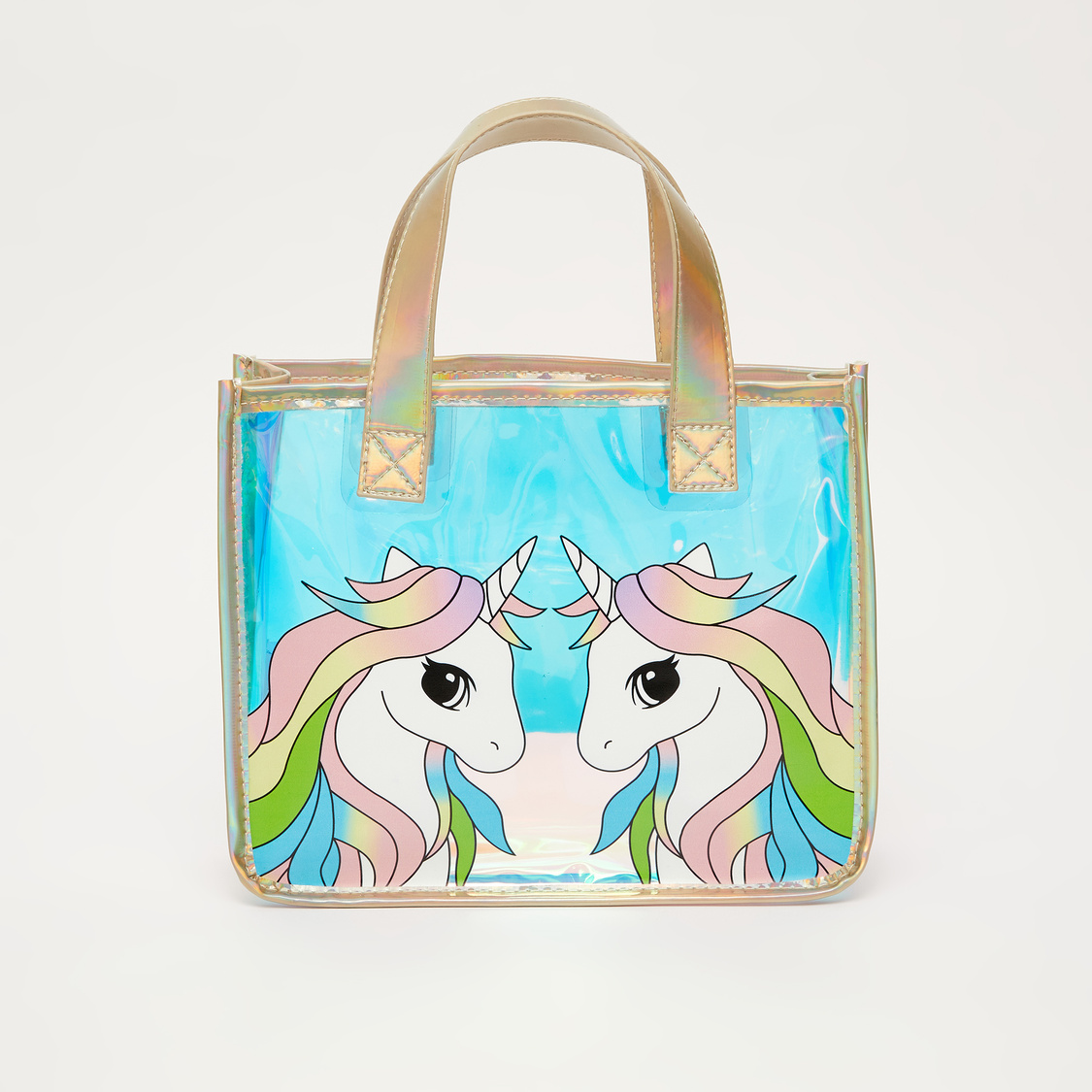 Unicorn Print See Through Tote Bag with Twin Handle