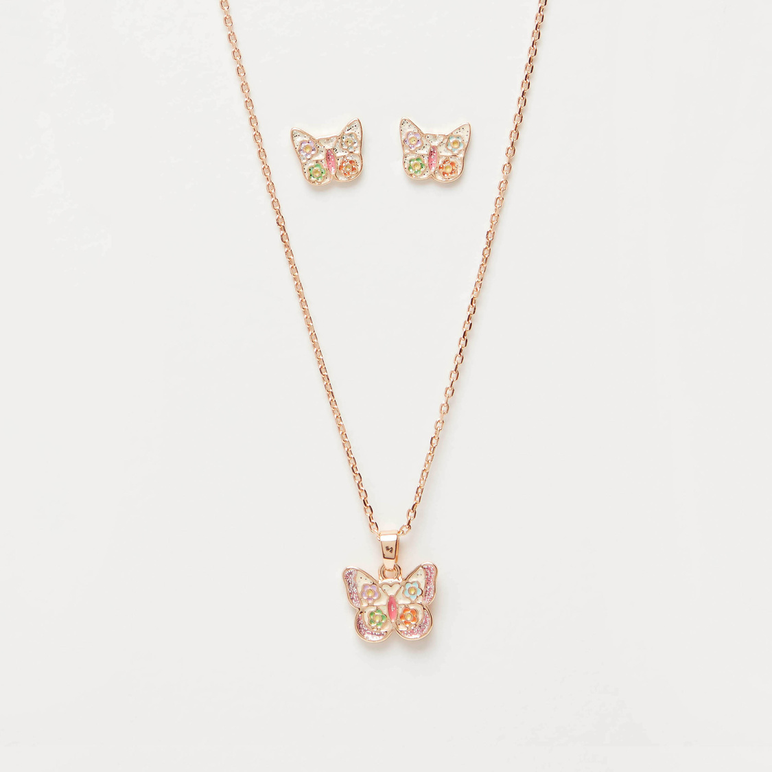 Embellished Butterfly Necklace and Stud Earrings Set