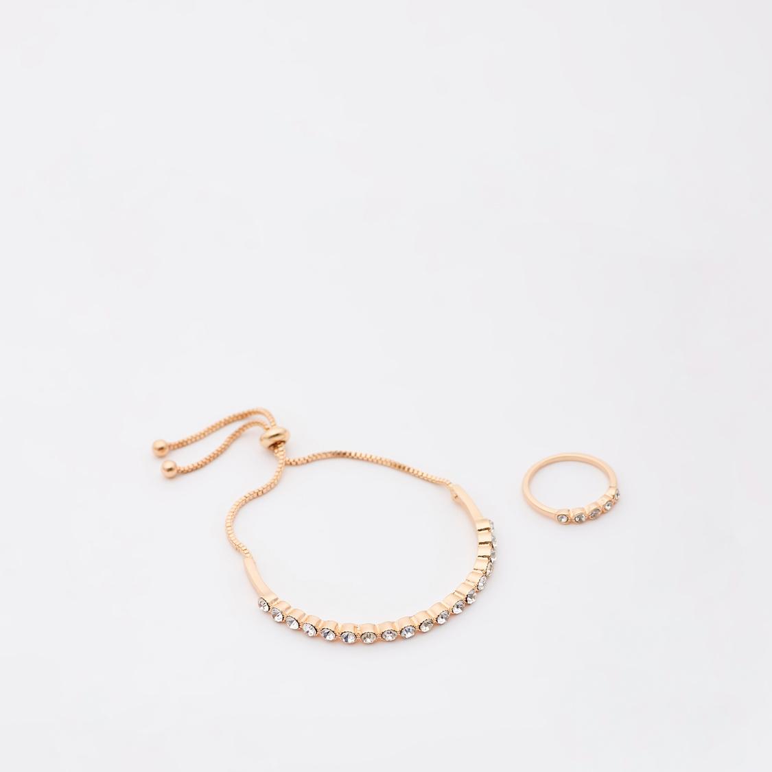 طقم خاتم وسوار مرصع قابل للتعديل