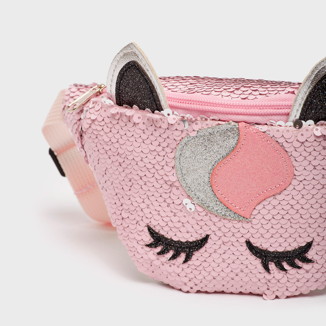 Sequin Detail Fanny Pack with Zip Closure and Adjustable Strap