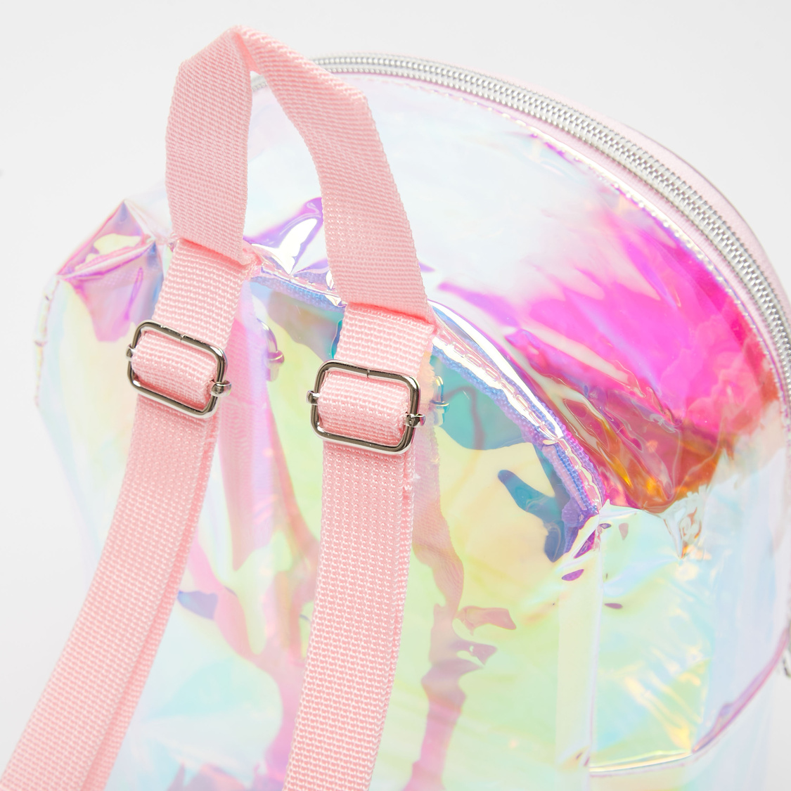 Glossy Backpack with Sequin Detail and Zip Closure