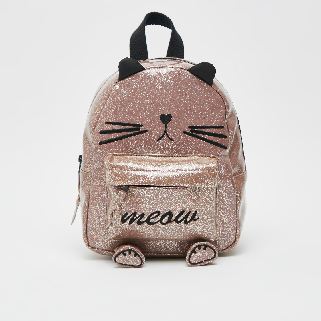 Glitter Accent Backpack with Adjustable Straps and Applique Detail
