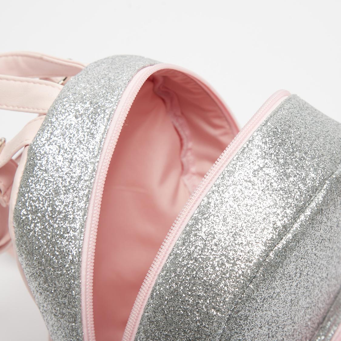 Glitter Backpack with Adjutable Shoulder Straps and Zipper Closure