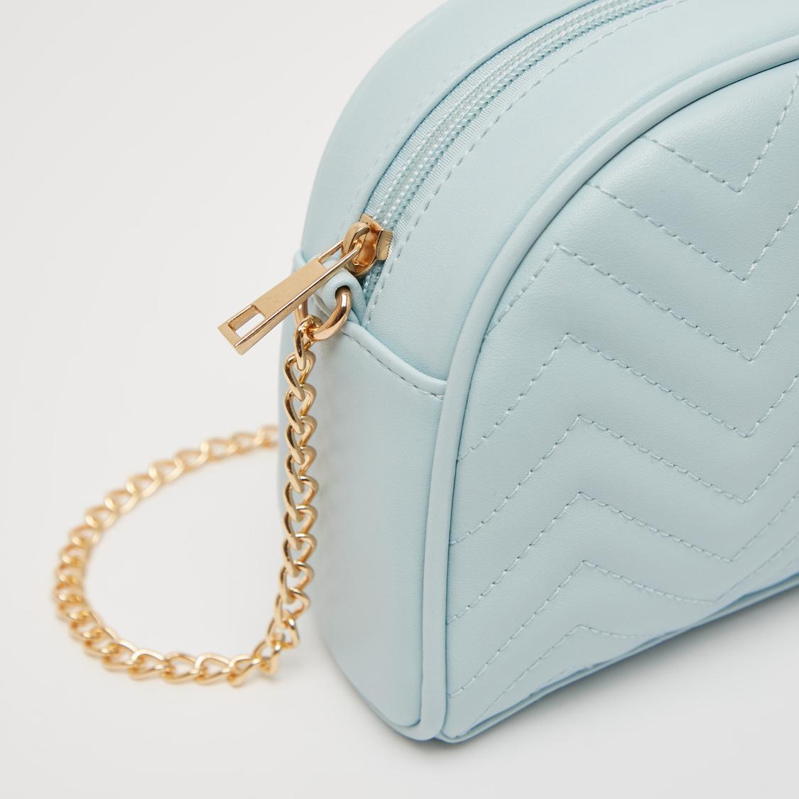 Textured Crossbody Bag with Metallic Chain and Zip Closure