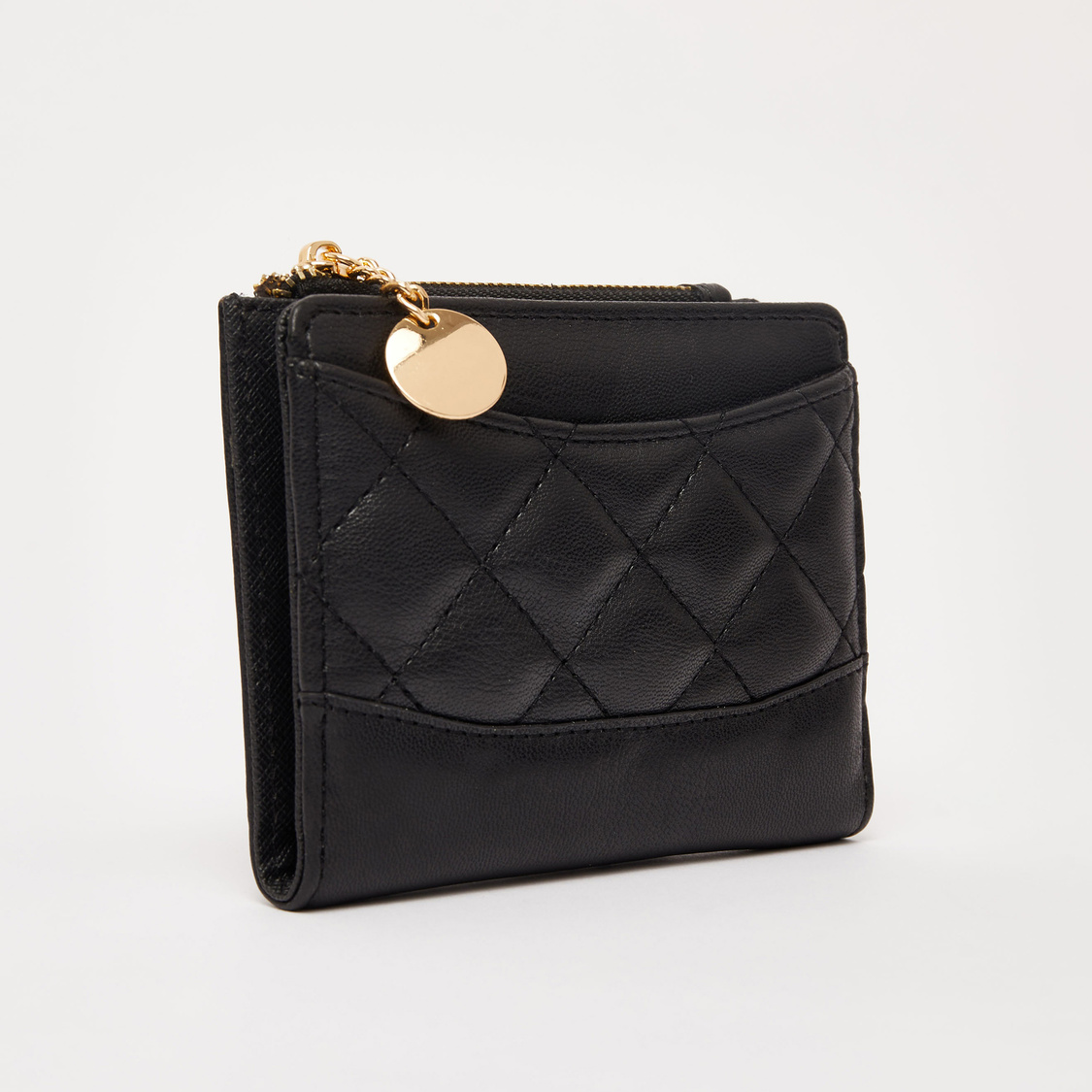 Quilted Bi-Fold Wallet with Snap Button Closure