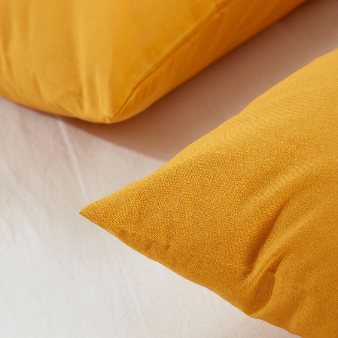 غطاء وسادة سادة - طقم من قطعتين