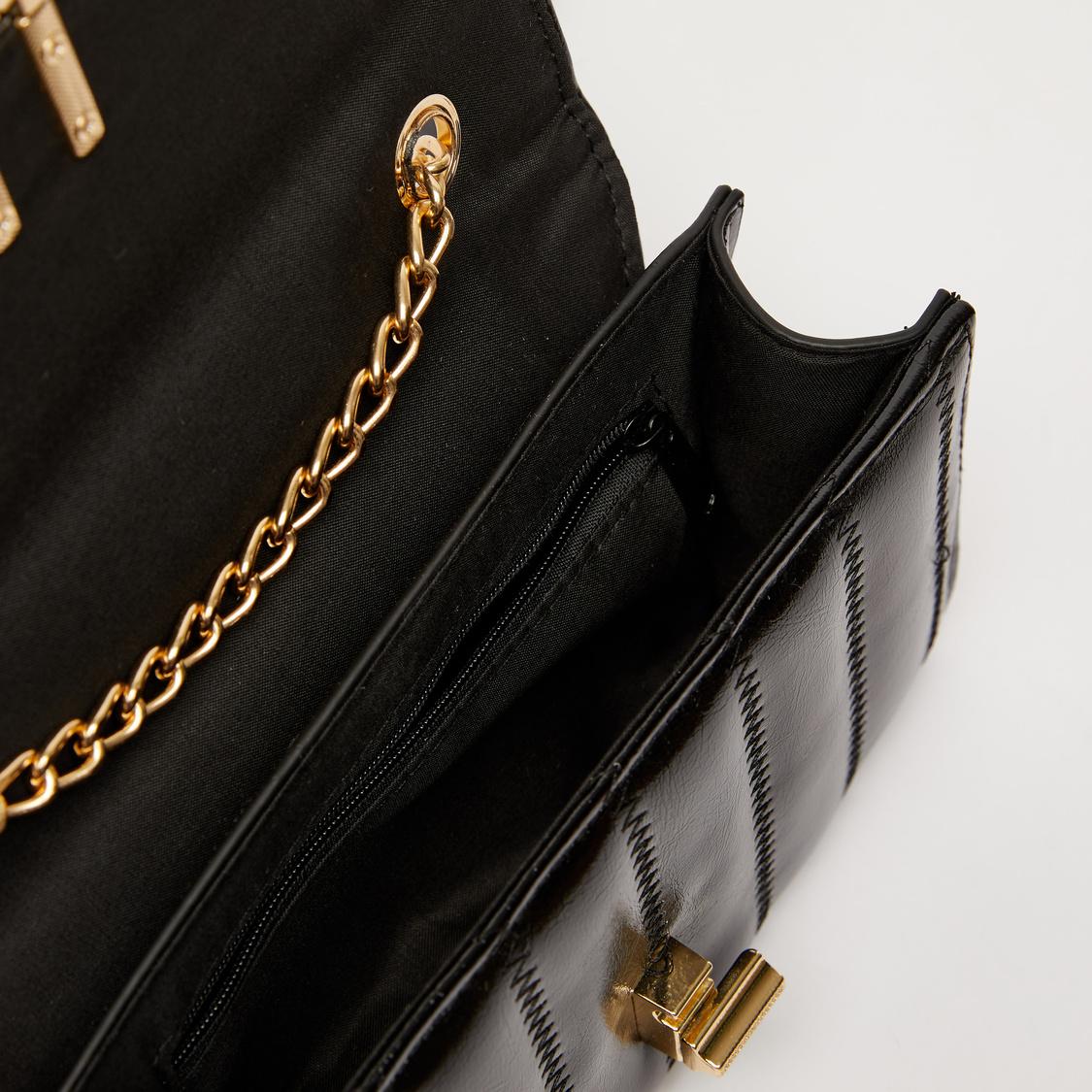 Quilt Stitched Satchel Bag with Flap Closure