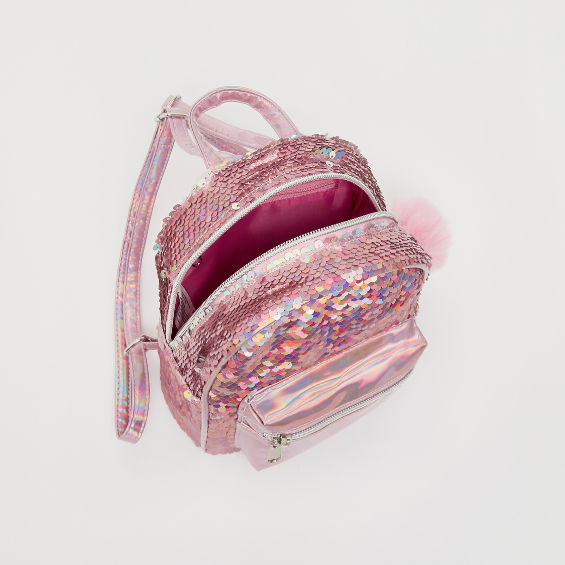 Sequin Embellished Backpack with Front Pocket and Pom Pom Accent
