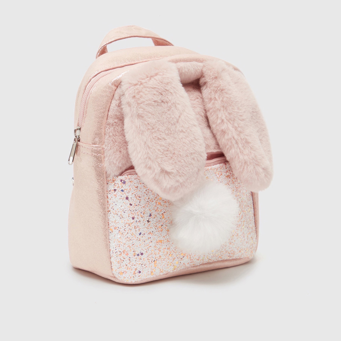 Plush Applique Detail Backpack with Adjustable Straps and Zip Closure