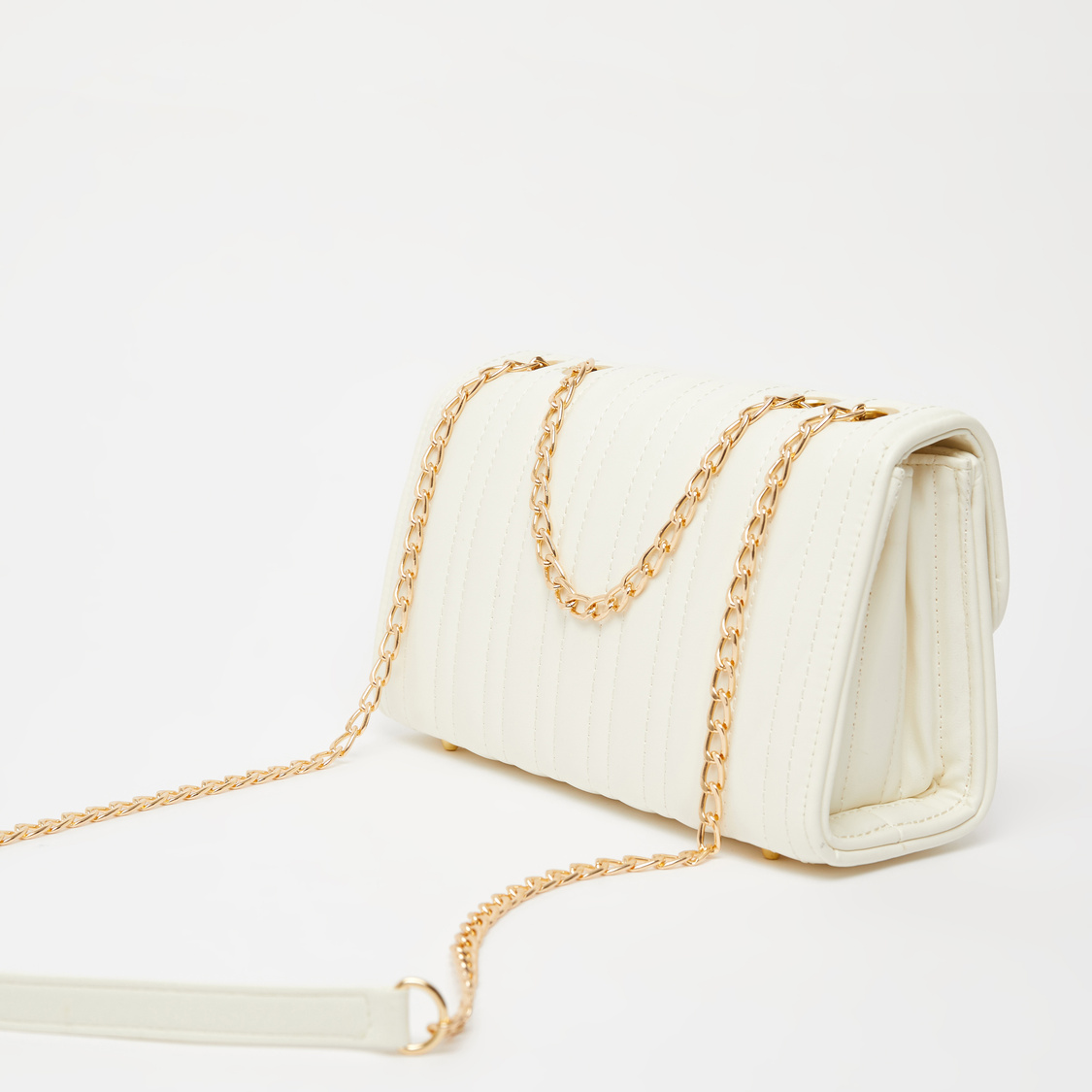 Textured Crossbody Bag with Metallic Chain