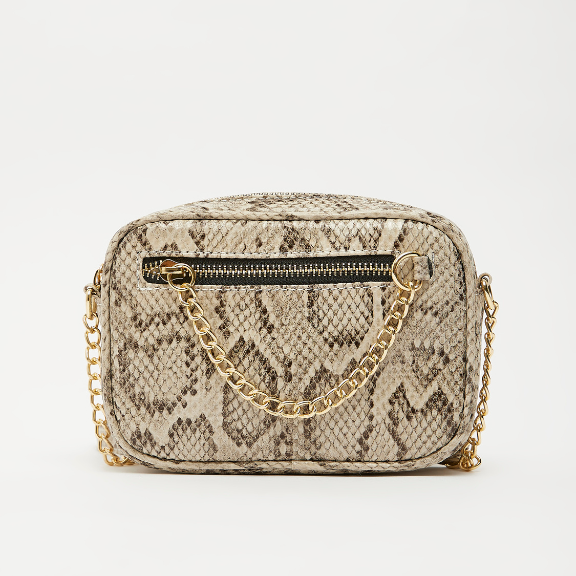 Reptilian Textured Crossbody Bag with Sling Strap