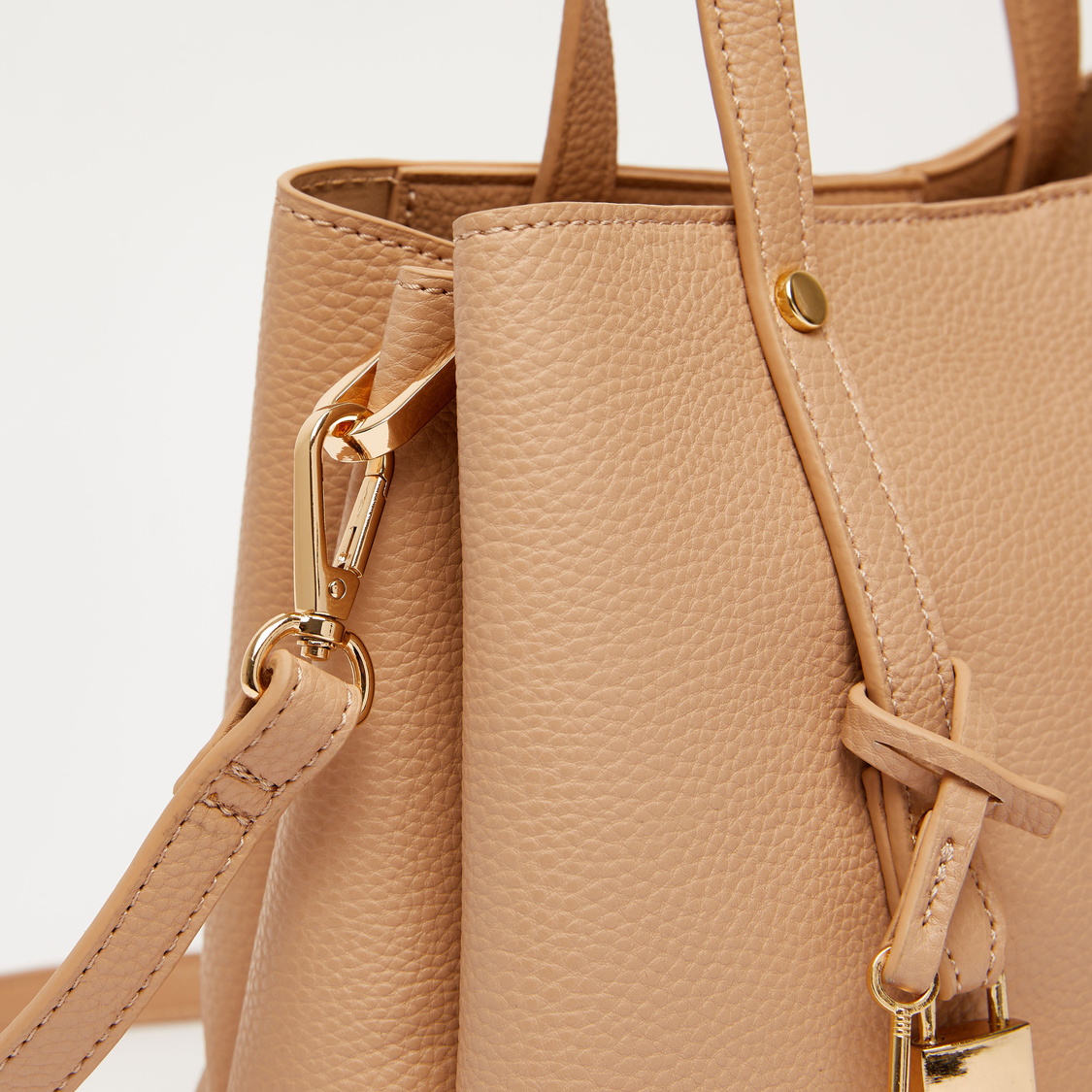 Solid Tote Bag with Twin Handle and Detachable Strap