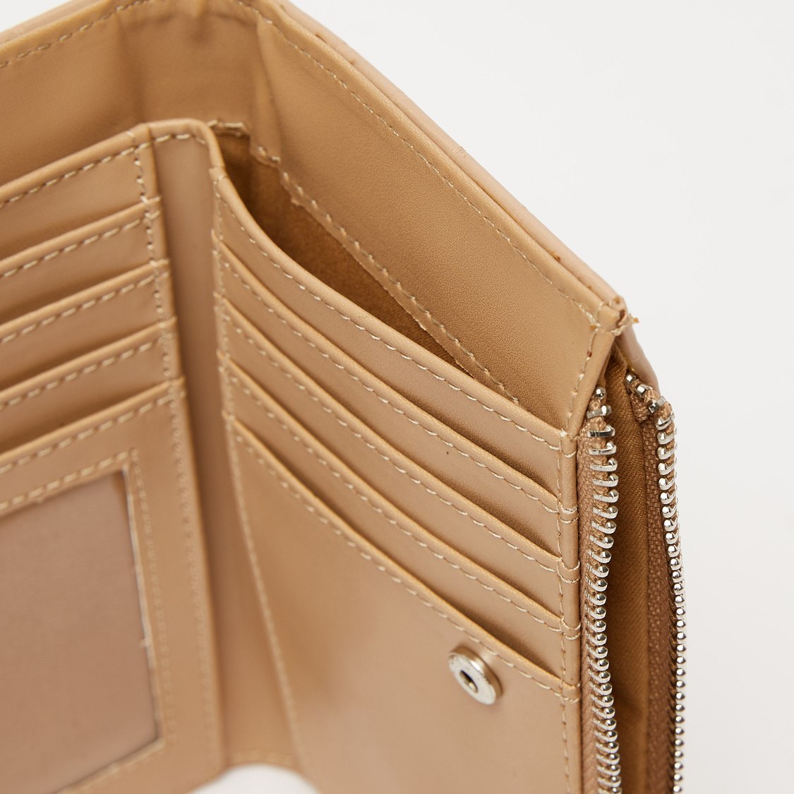 Textured Bi Fold Wallet with Snap Button Closure