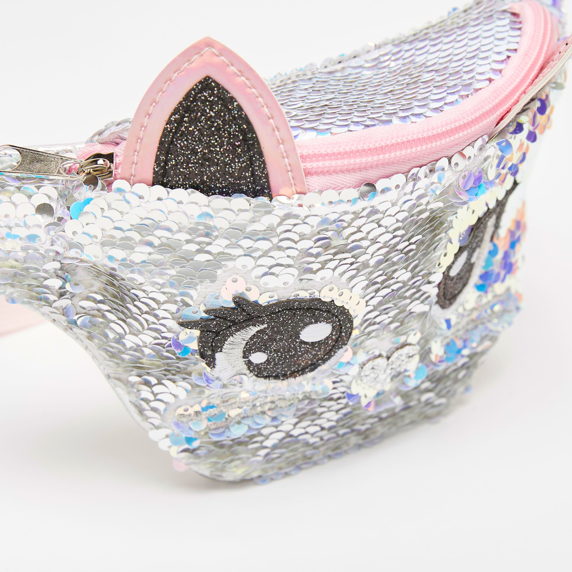 Sequin Detail Fanny Pack with Applique Detail and Zip Closure
