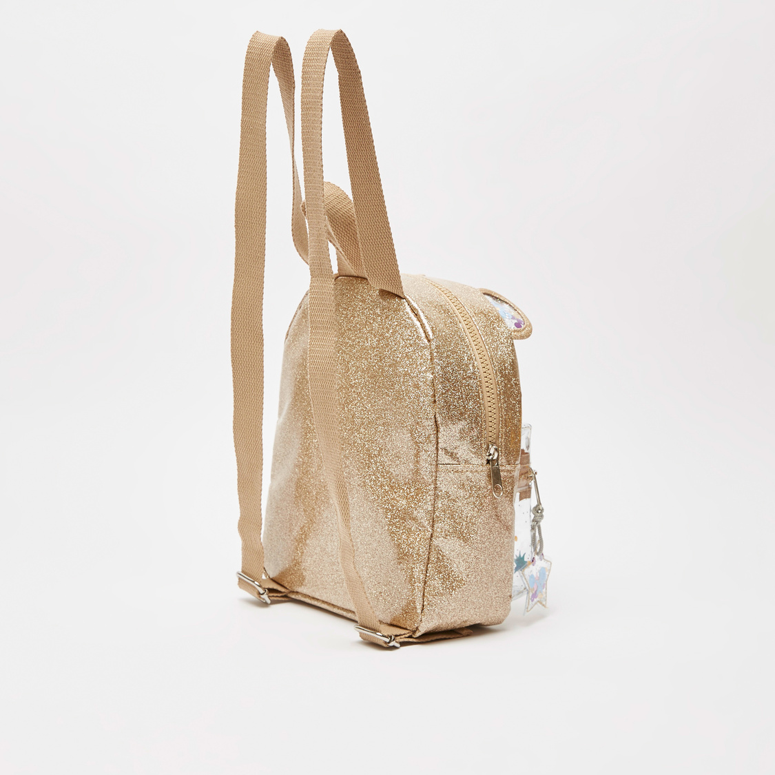 Glitter Accent Backpack with Zip Closure and Adjustable Straps