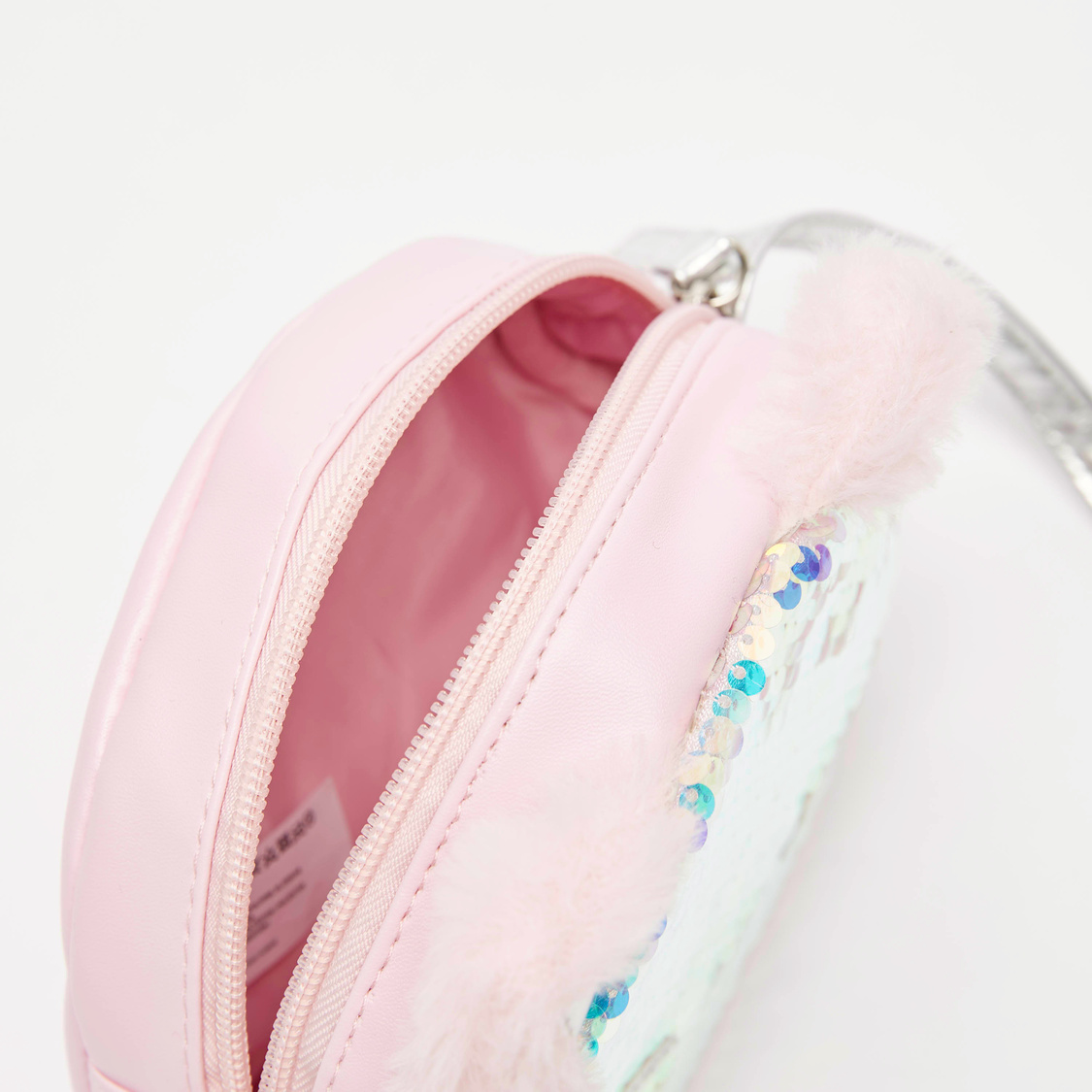 Sequin Detail Crossbody Bag with Adjustable Strap and Zip Closure