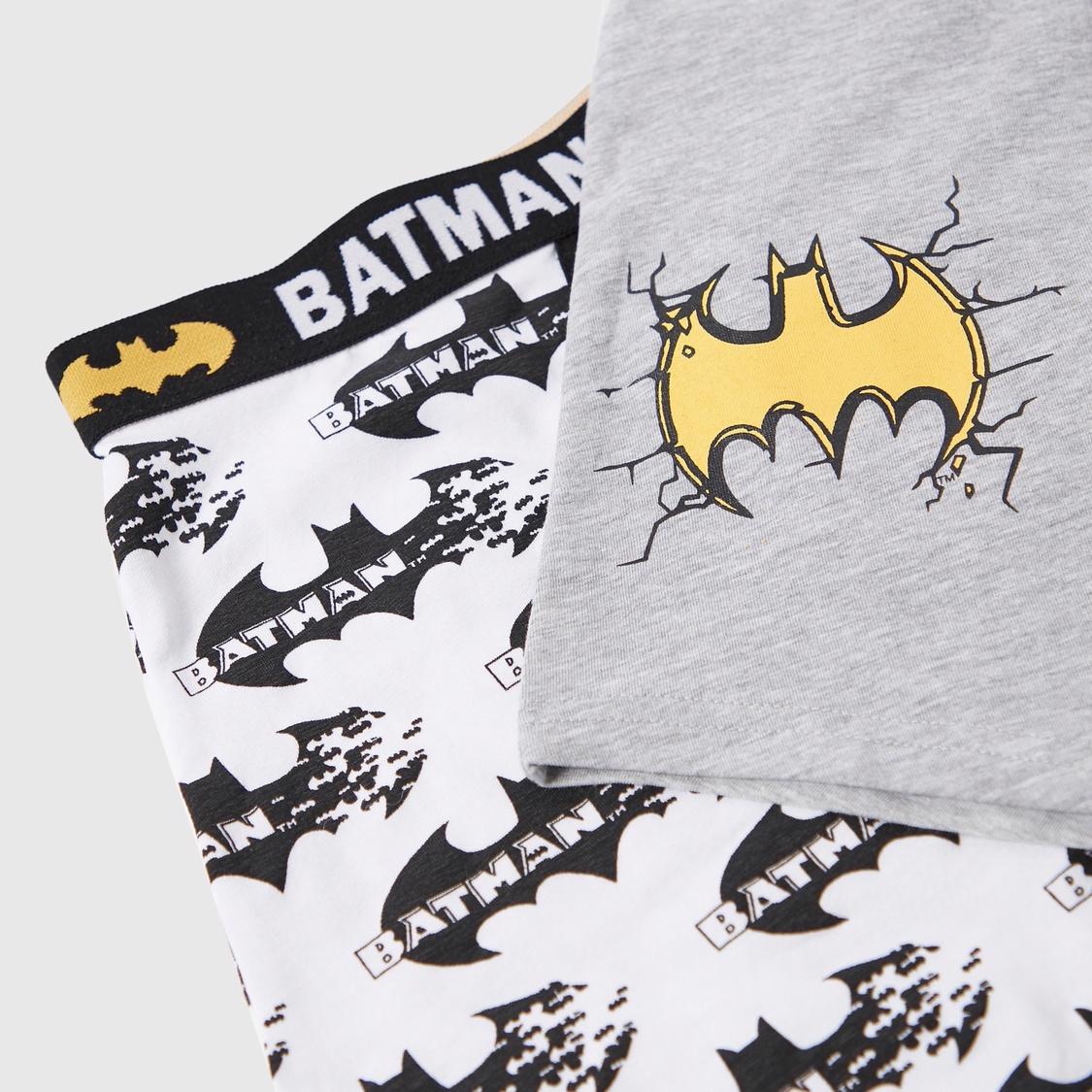 سراويل داخلية ترانك بخصر مطاطي وطبعات جرافيك باتمان - مجموعة من قطعتين