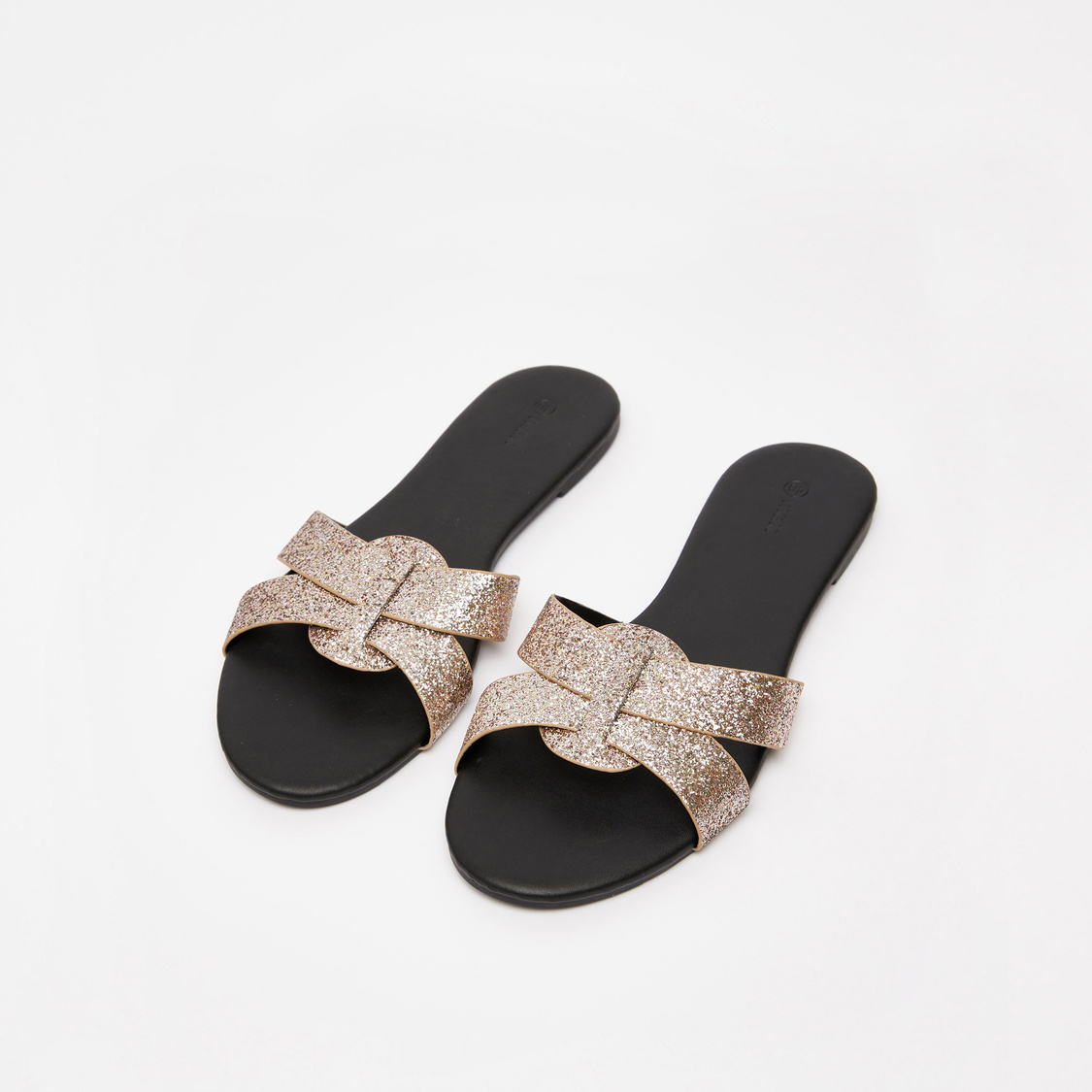 Glitter Accent Cross Strap Flat Slip-On Sandals