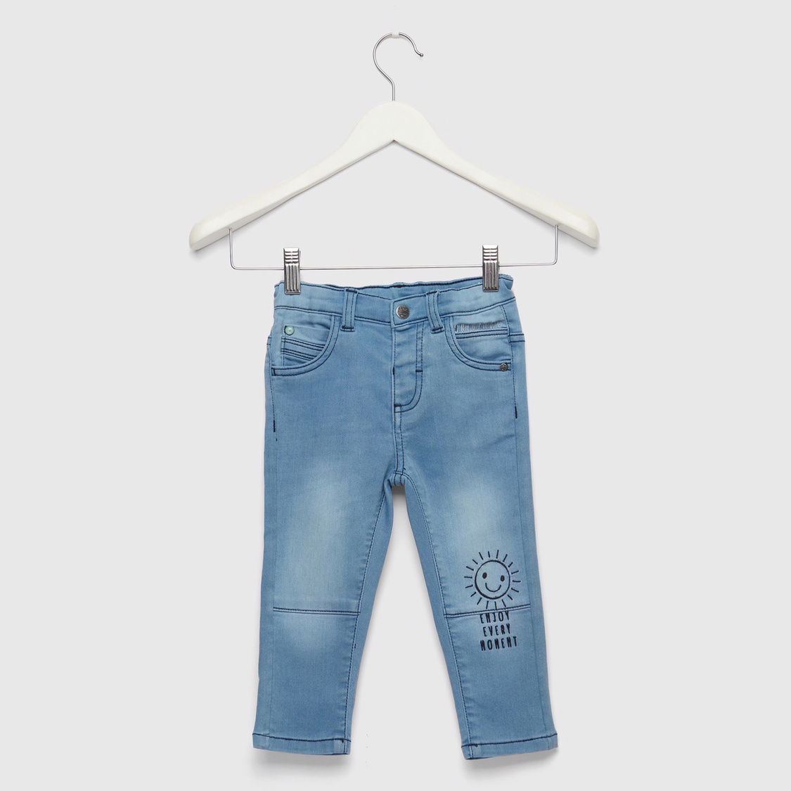 Full Length Embroidered Mid-Rise Jeans with Zip Closure