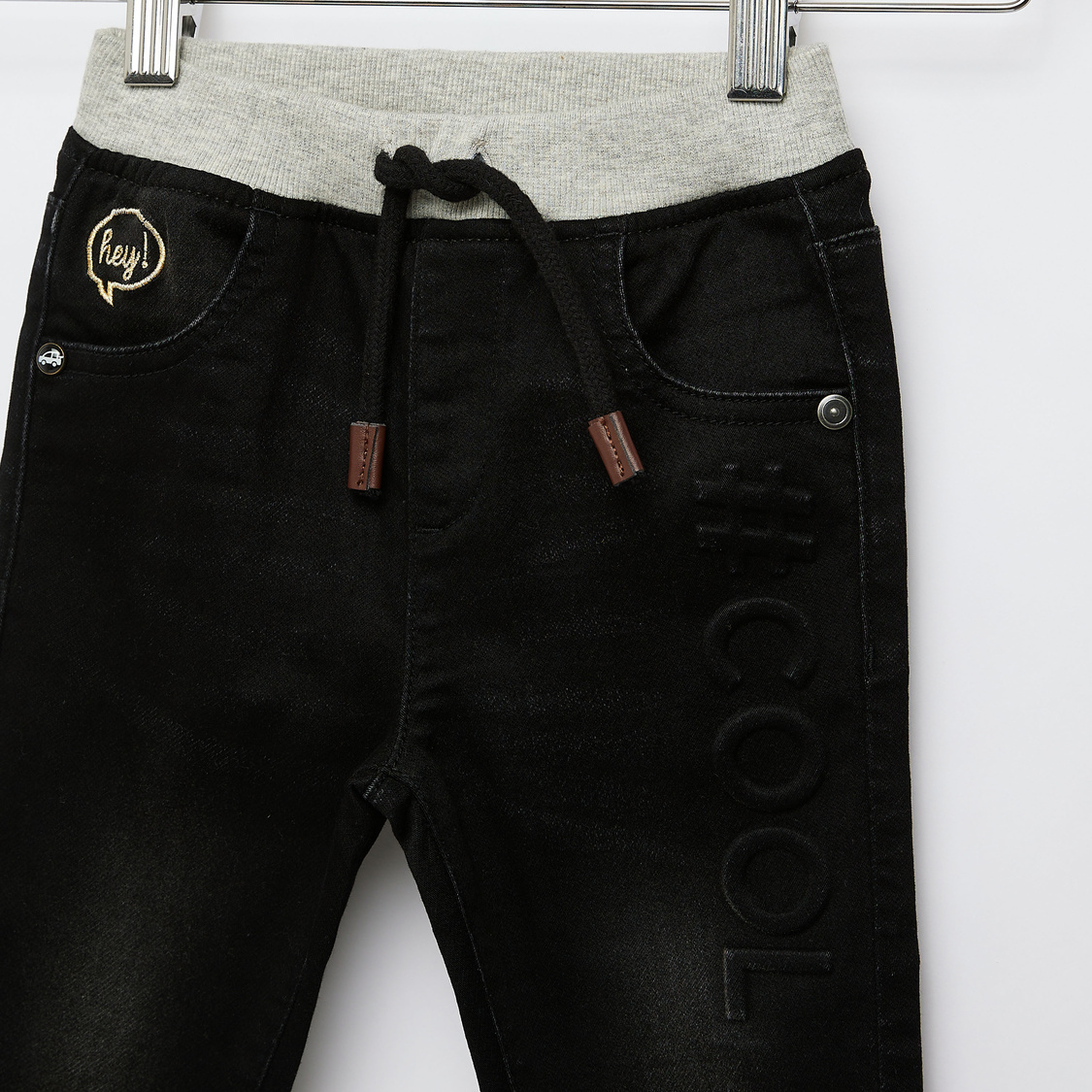 Textured Jeans with Pockets and Drawstring