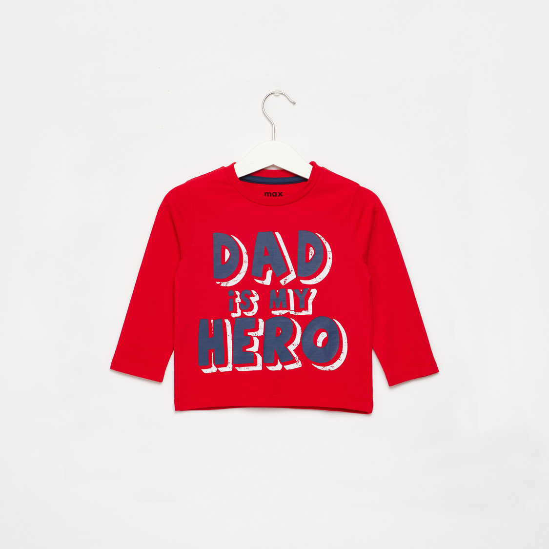 Slogan Print T-shirt with Round Neck and Long Sleeves