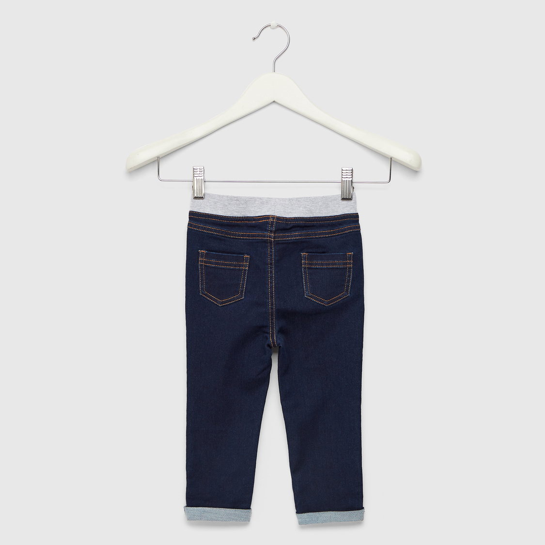 Solid Jeans with Pocket Detail and Drawstring Closure