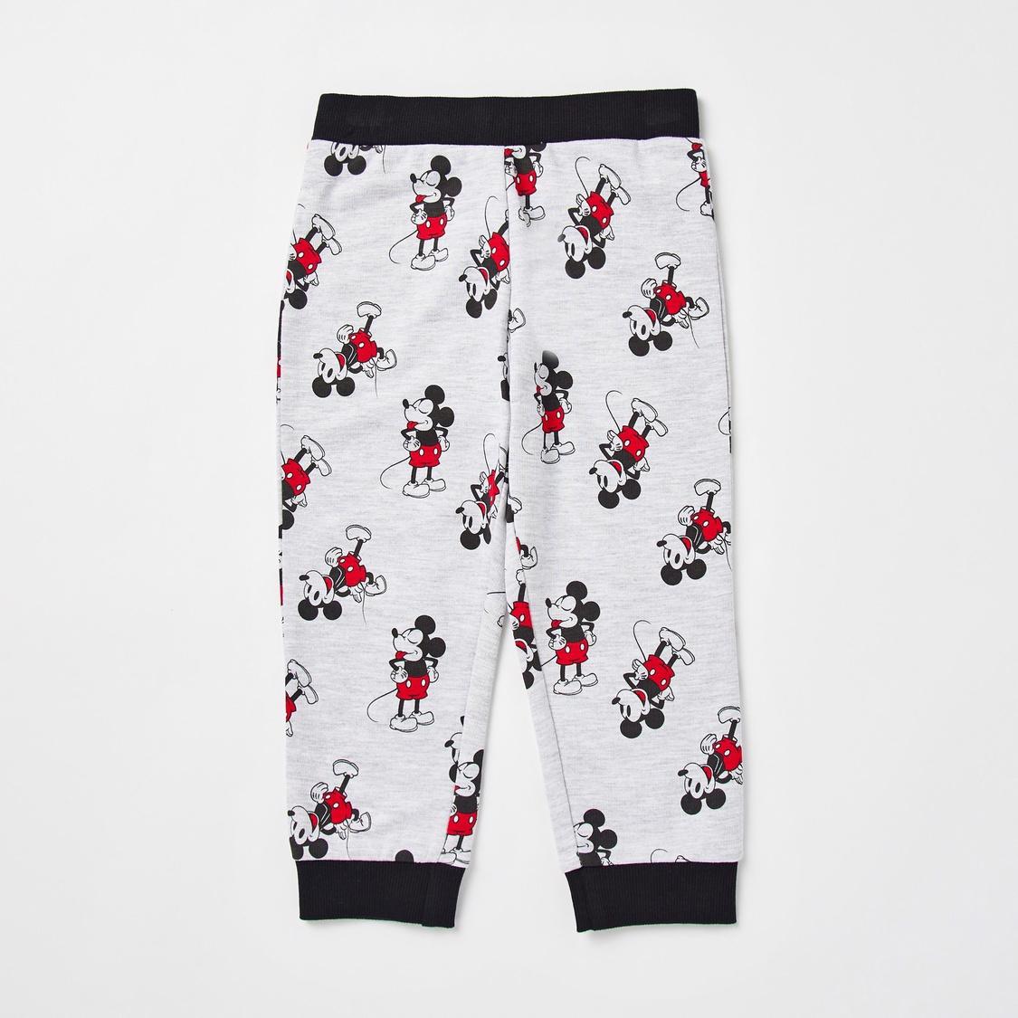 Mickey Mouse Print Long Sleeves Sweatshirt and Jog Pants Set