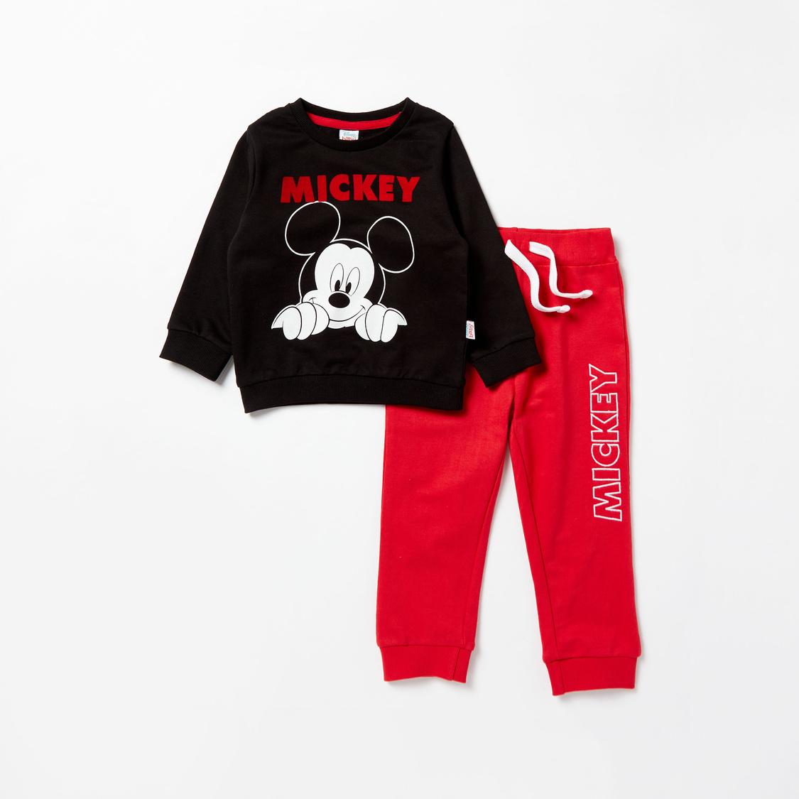 Mickey Mouse Graphic Print Long Sleeves Sweatshirt and Jog Pants Set