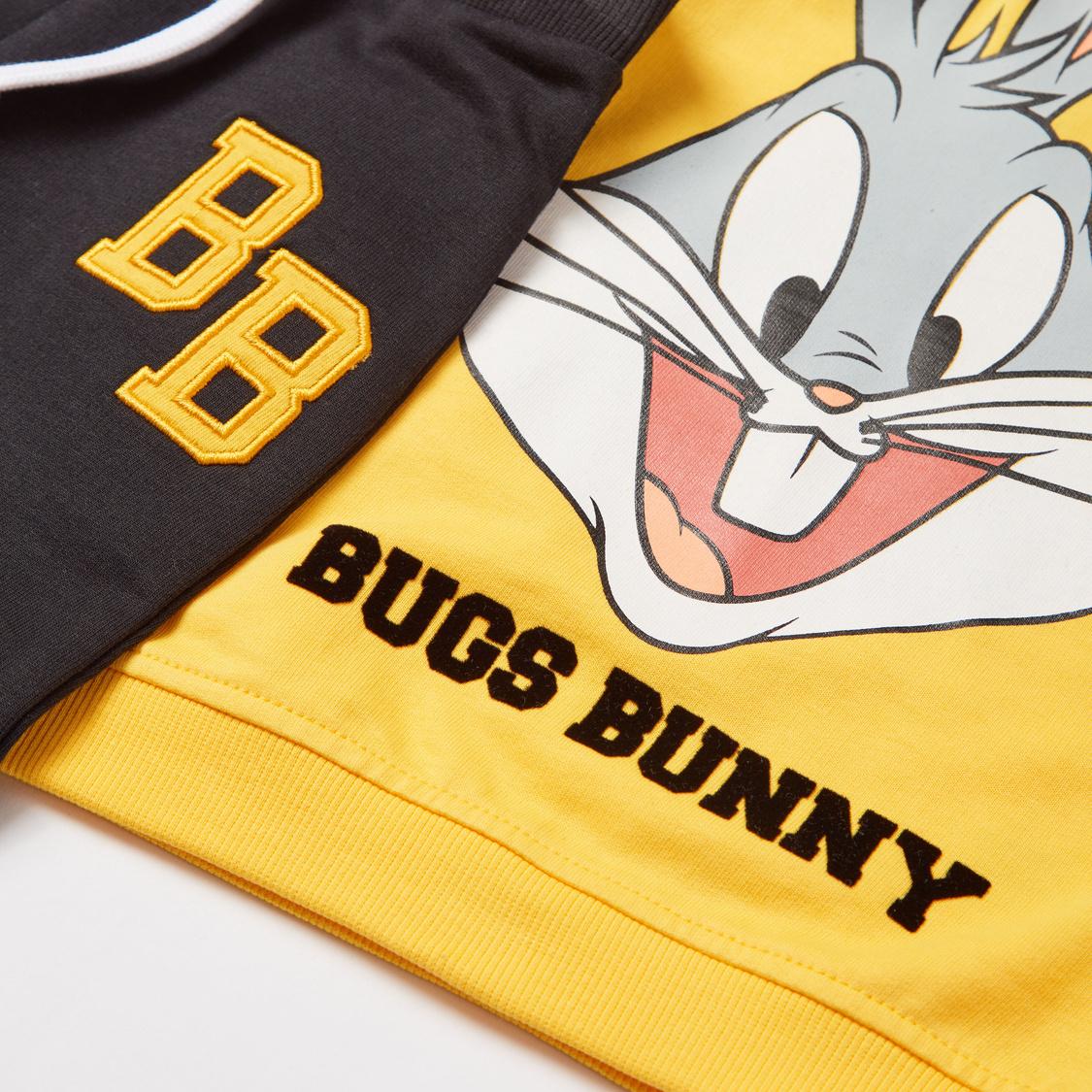 Bugs Bunny Graphic Print Long Sleeves Sweatshirt with Jog Pants Set