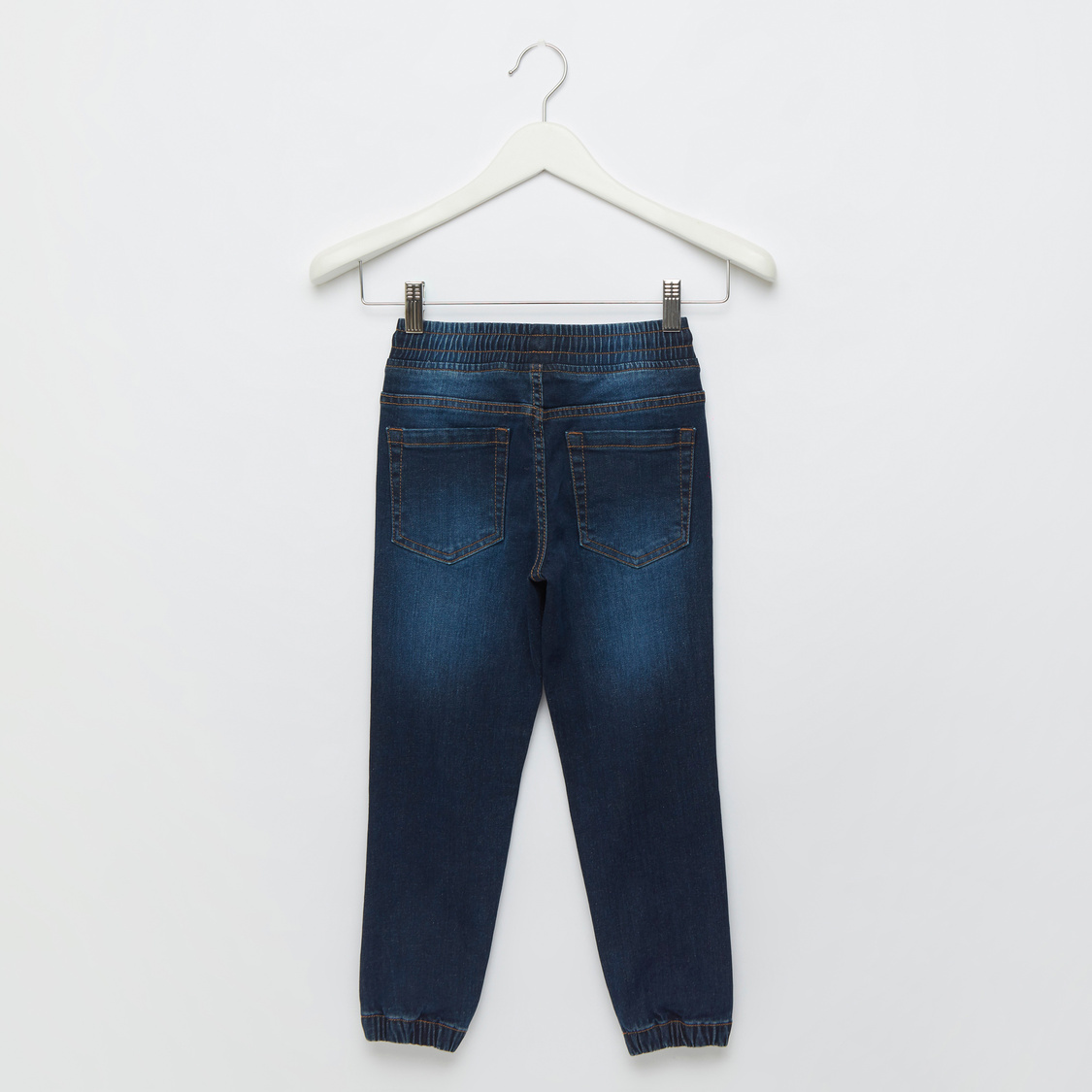 Textured Denim Jog Pants with Pocket Detail and Drawstring Closure