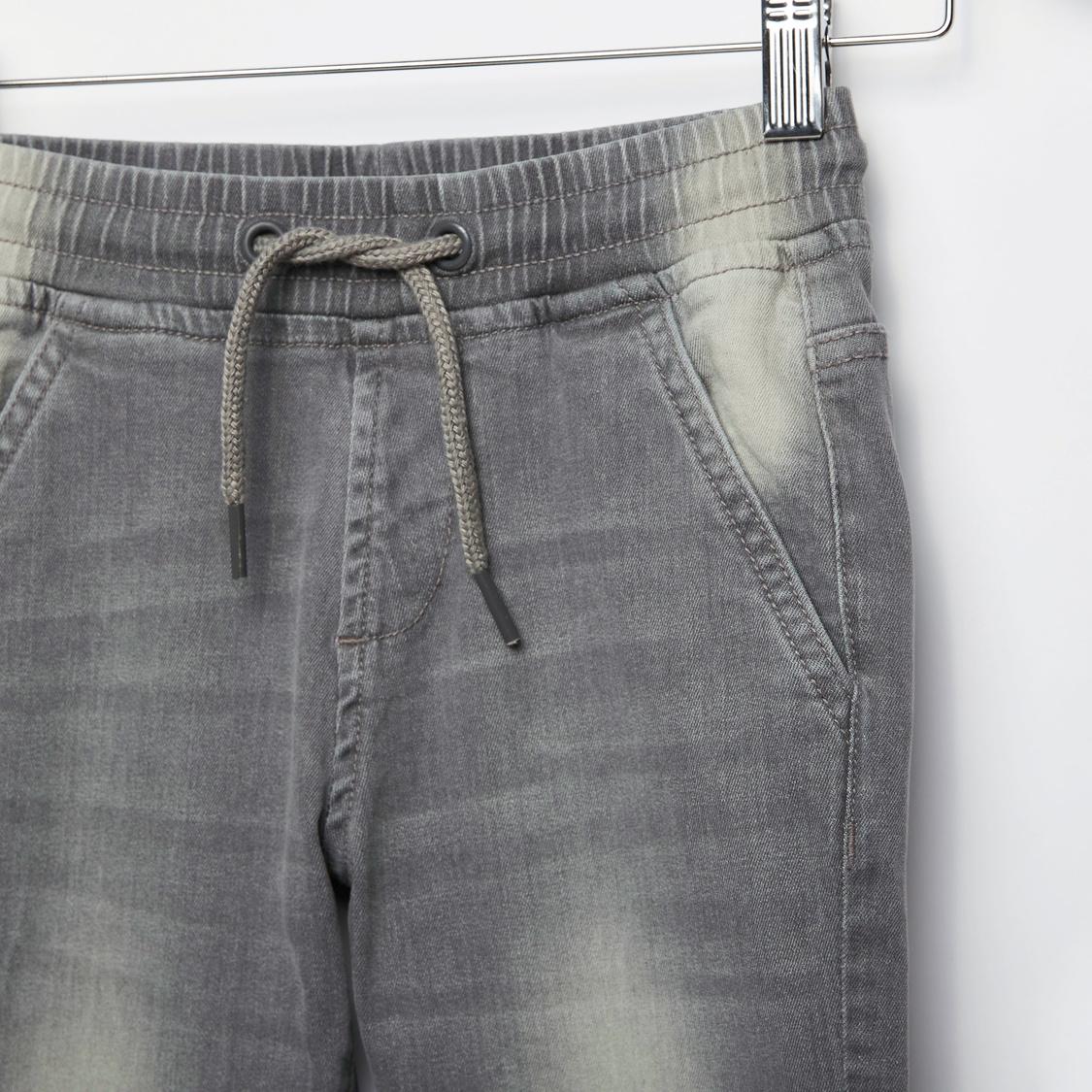 Solid Denim Jog Pants with Pockets and Drawstring