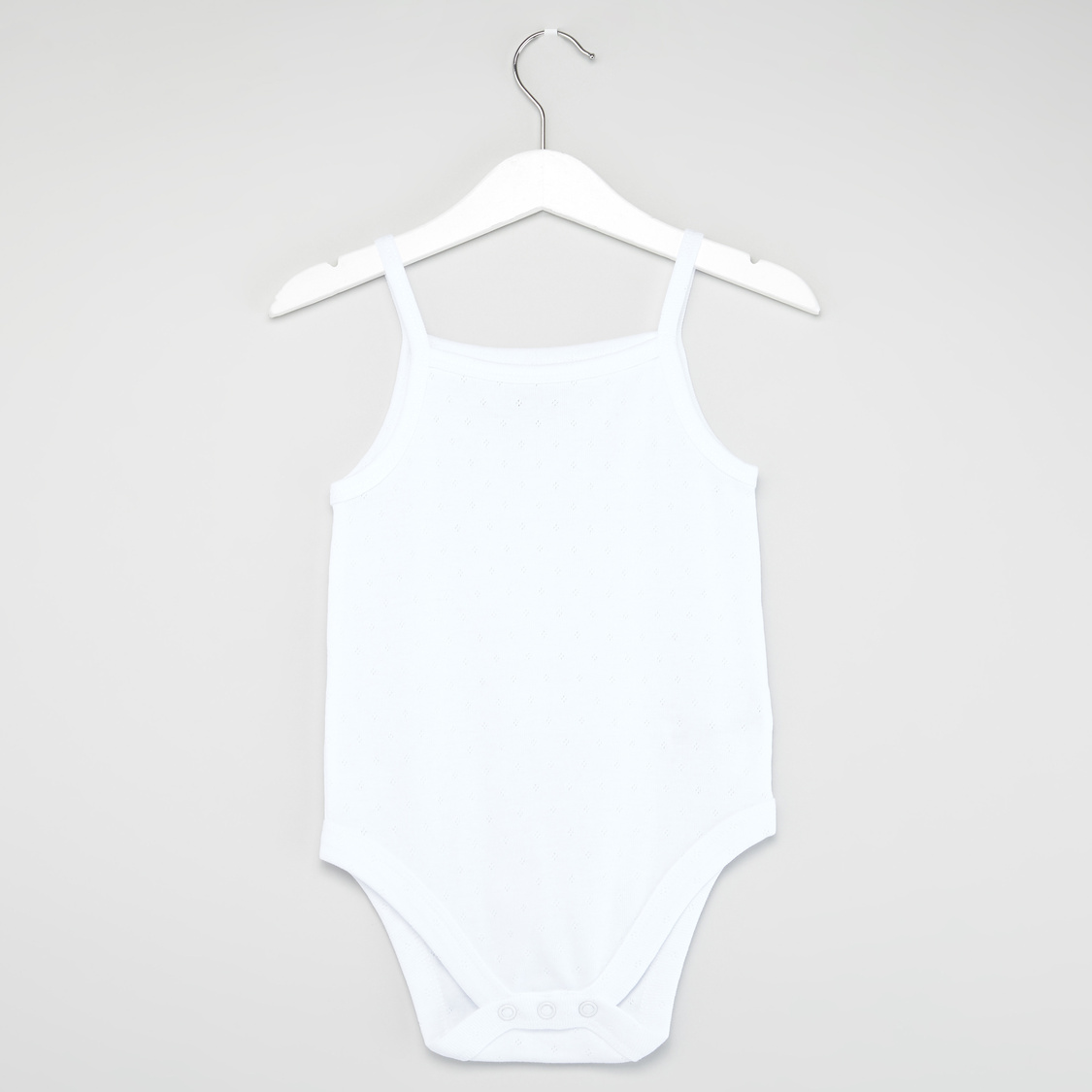 Set of 3 - Solid Pointelle Strappy Bodysuit