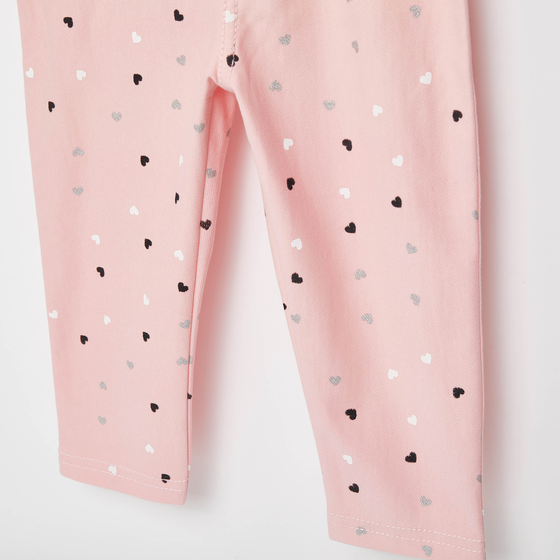 Full Length All-Over Heart Print Jeggings with Elasticated Waistband