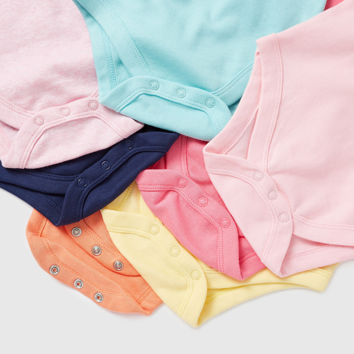 Pack of 7 - Solid Bodysuits with Round Neck and Short Sleeves
