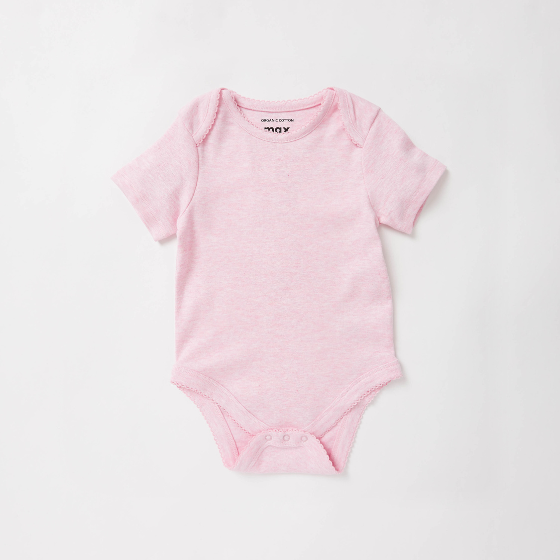 Set of 3 - Solid Round Neck Bodysuit with Short Sleeves
