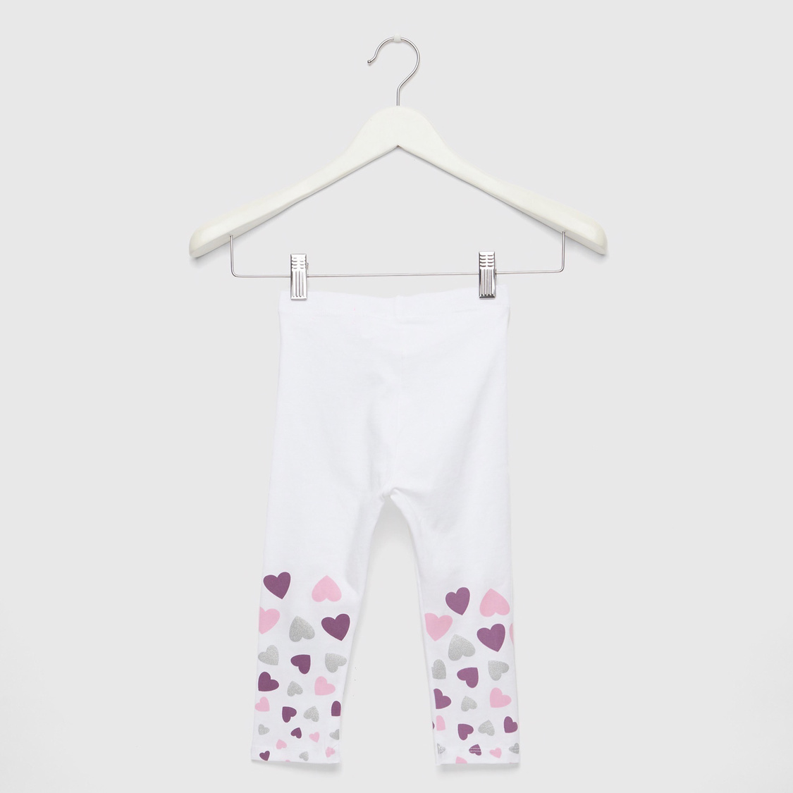 Full Length Heart Placement Print Leggings with Elasticised Waistband