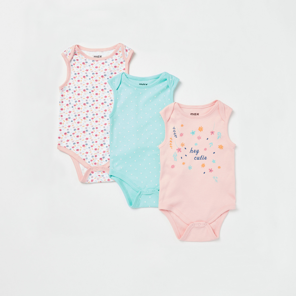 Pack of 3 - Assorted Sleeveless Bodysuit with Round Neck