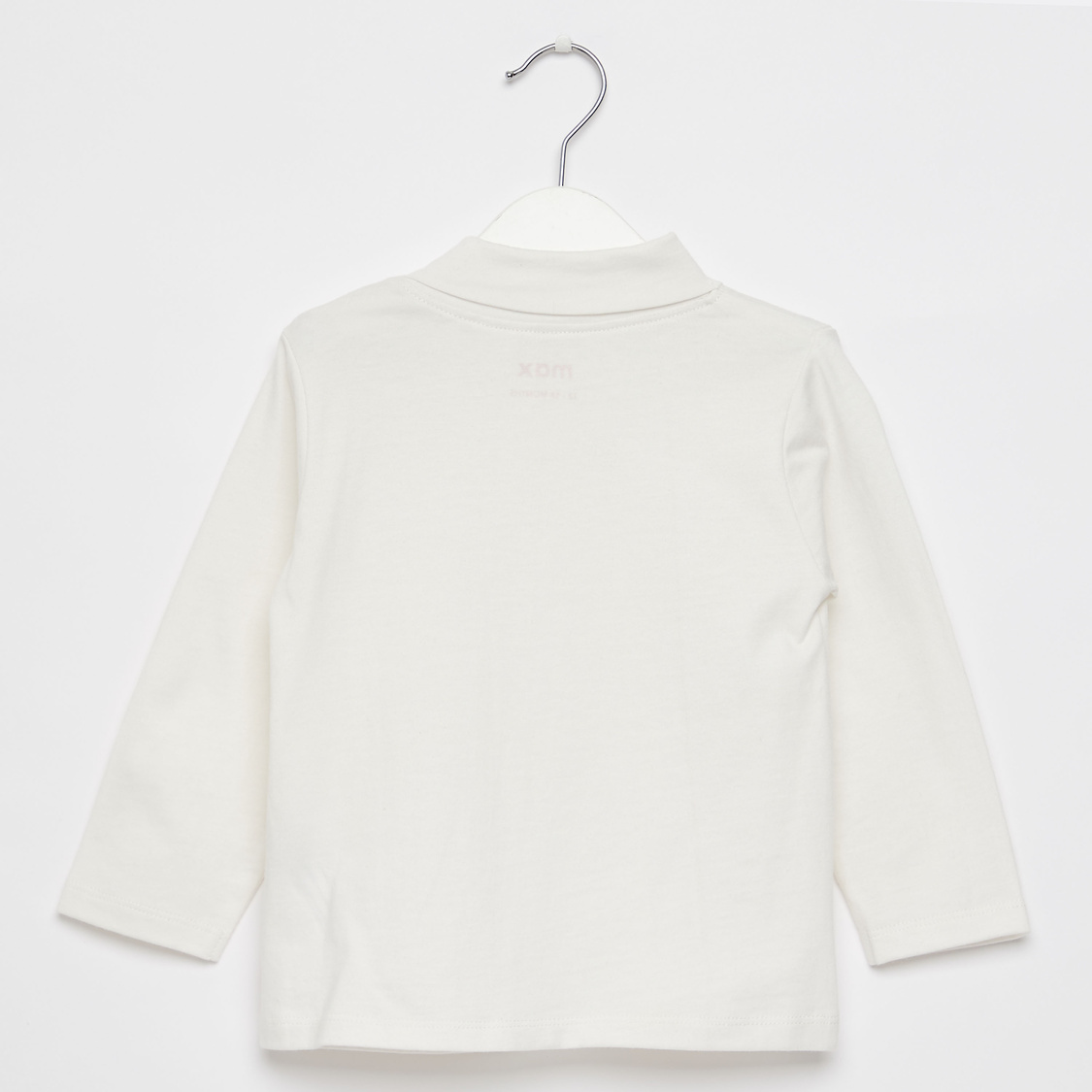 Solid High Neck T-shirt with Long Sleeves