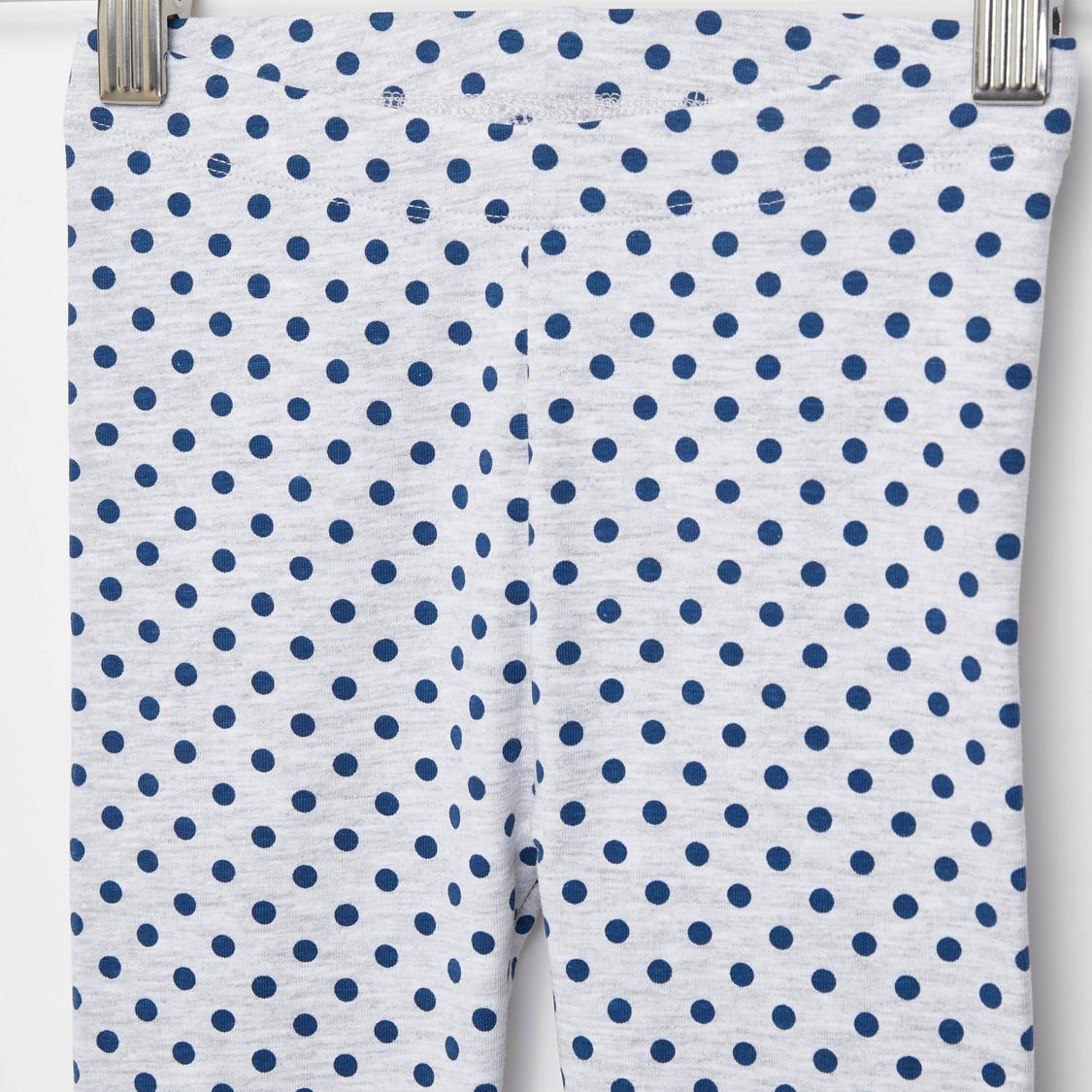 Full Length Polka Dots Print Leggings with Elasticated Waistband
