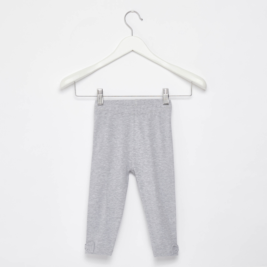 Solid Leggings with Bow Accent and Elasticated Waistband