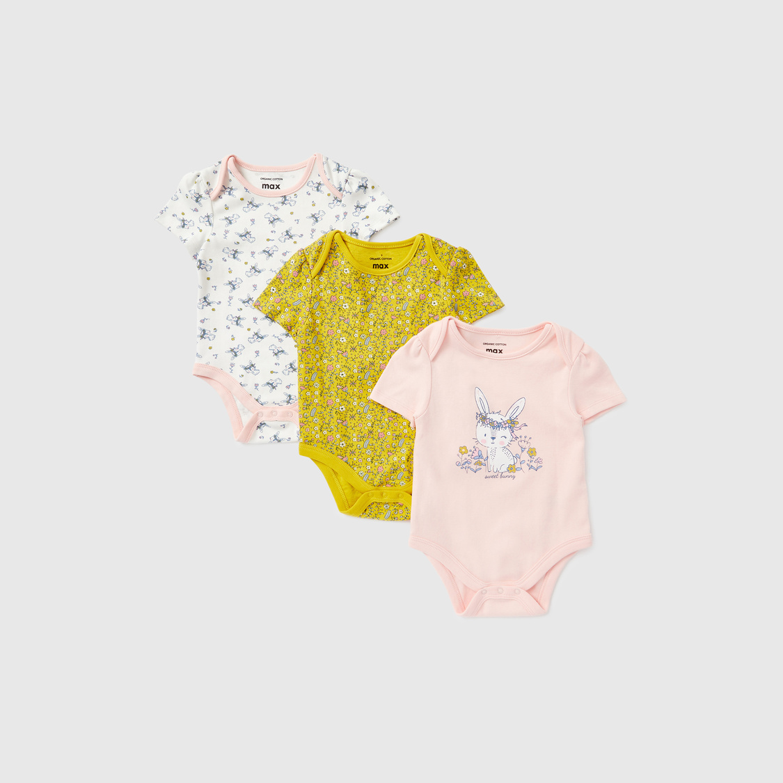 Pack of 3 - Printed Bodysuits with Round Neck and Short Sleeves