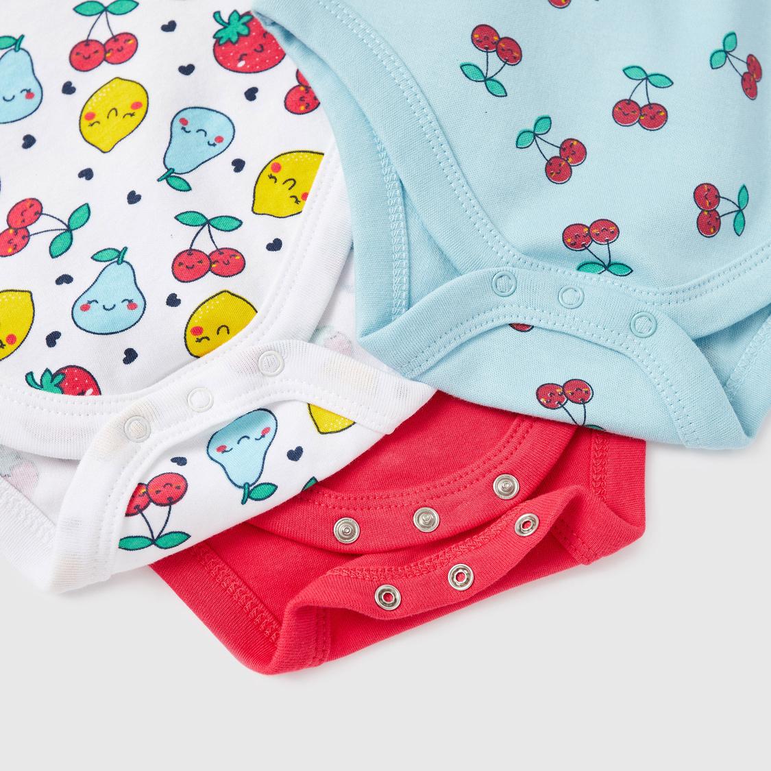 Set of 3 - Printed Cotton Bodysuits