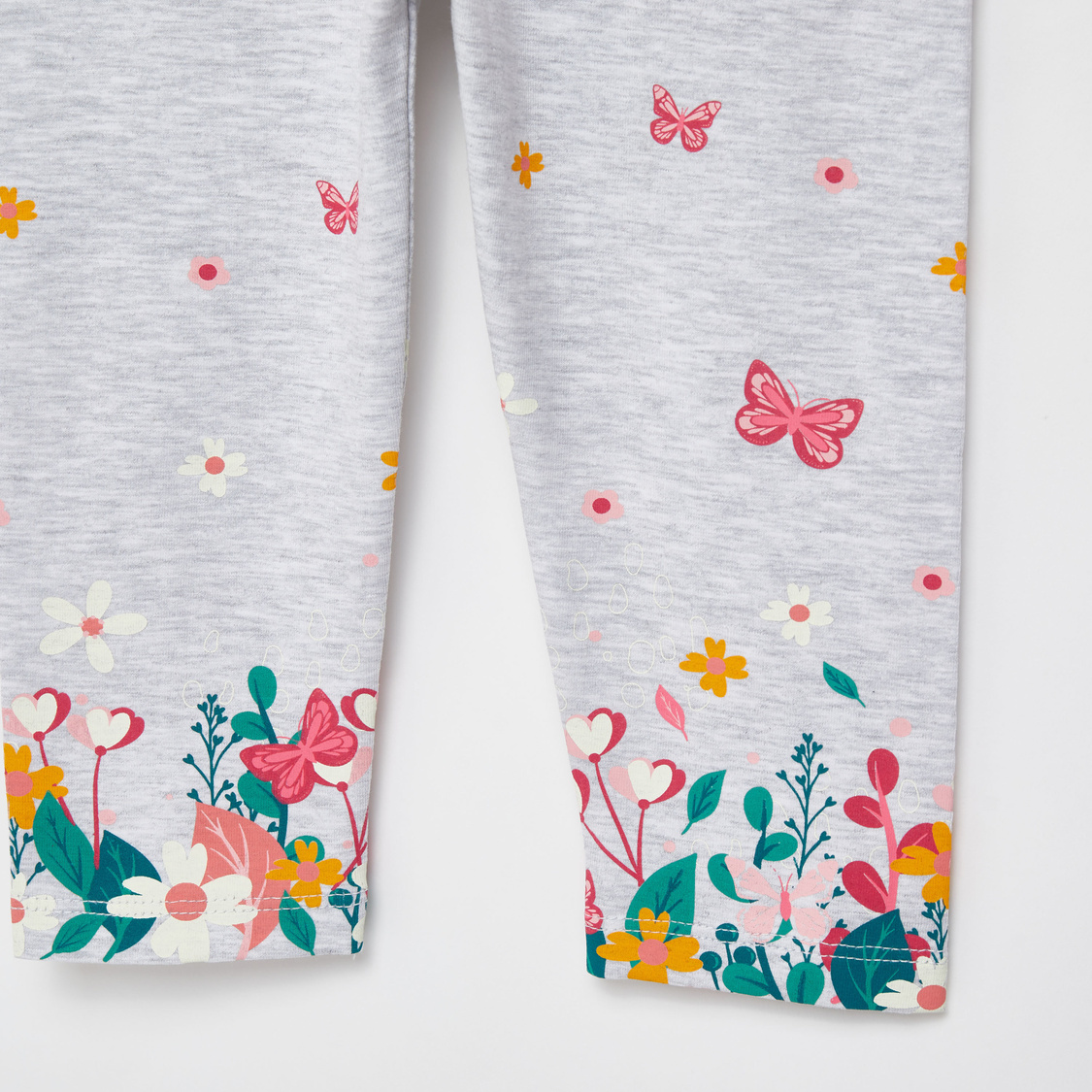 Butterfly Graphic Print Leggings with Elasticised Waistband