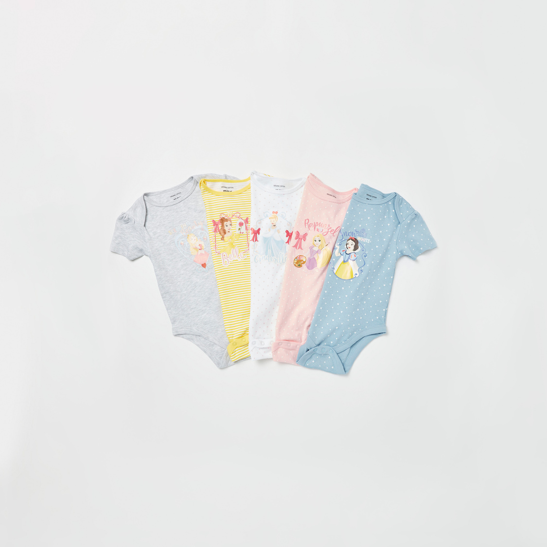 Set of 5 - Printed Round Neck Bodysuit with Short Sleeves