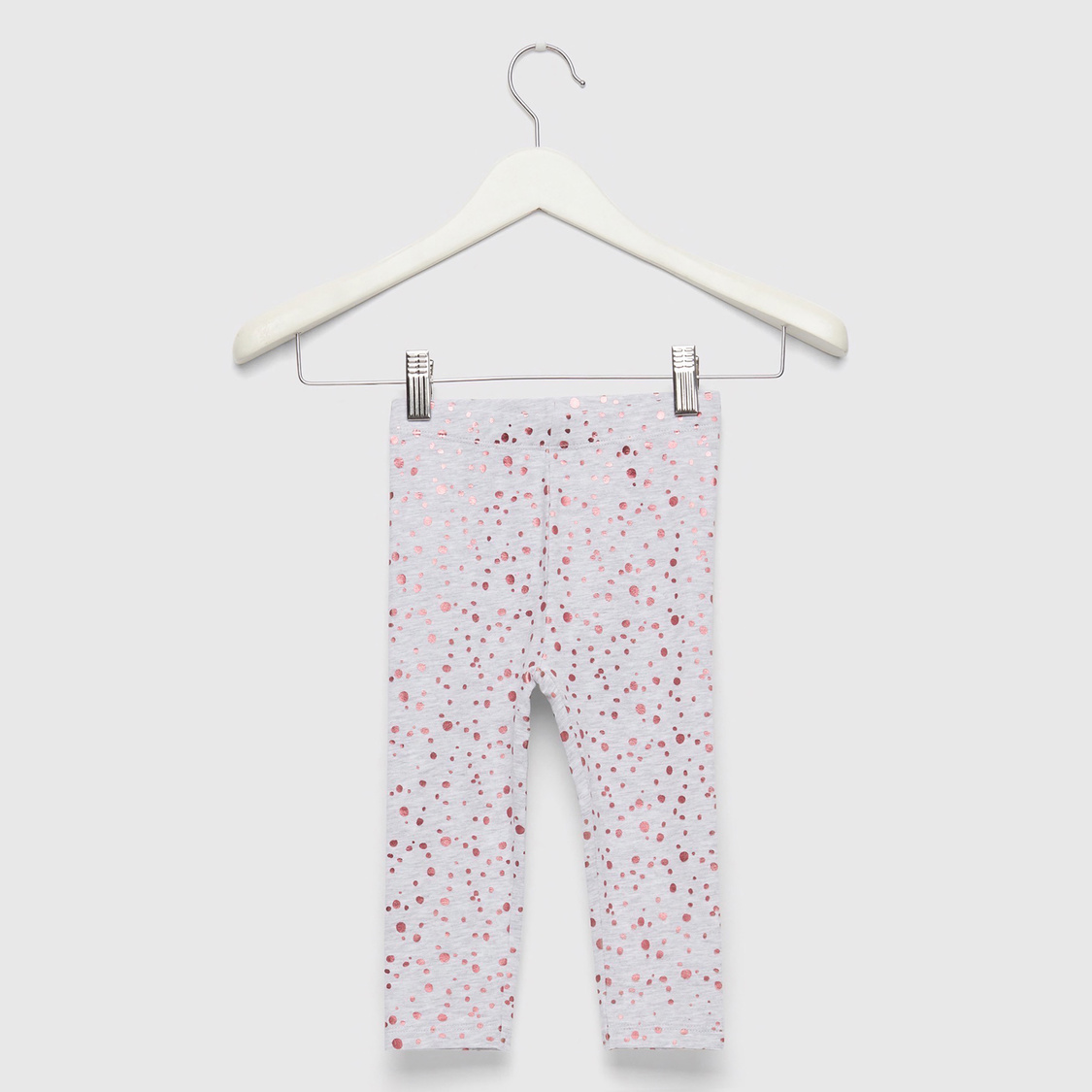 Polka Dot Foil Print Leggings with Elasticised Waistband